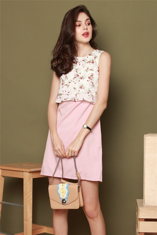 Floral Bloom Layered Work Dress in White-Pink