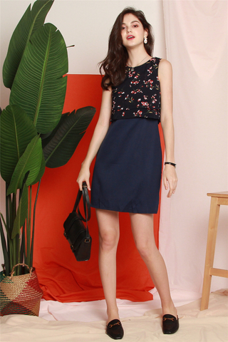 Floral Bloom Layered Work Dress in Navy