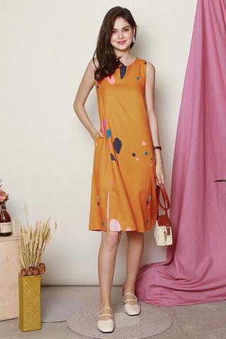 Colour Palette Slit Midi Dress in Mustard
