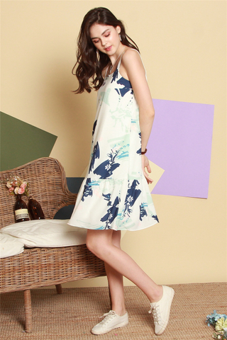 Pastel Palette Dropwaist Dress in Navy Blue
