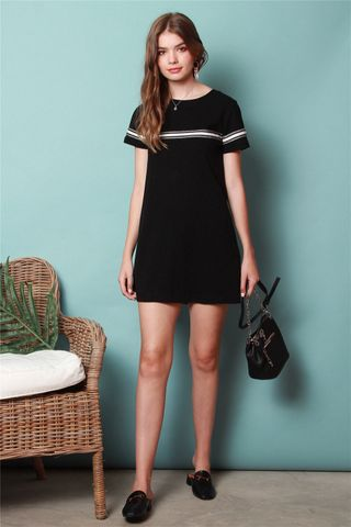 ACW Monochrome Stripe Tee Dress in Black