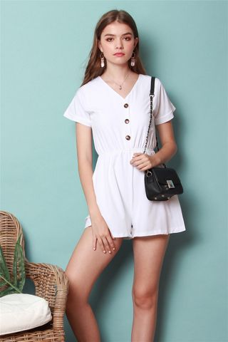 *BACK IN STOCK* ACW Button Basic Romper in White