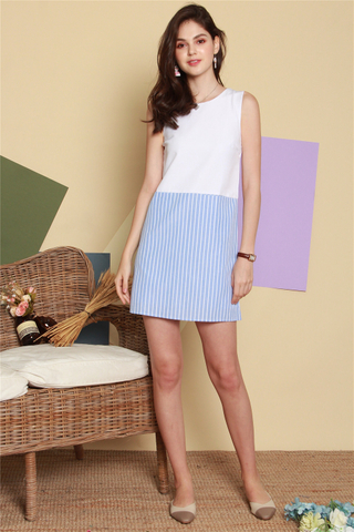 Colourblock Pinstripe Shift Dress in White-Blue