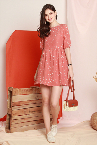 Polka Dot Babydoll Sleeved Dress in Mauve