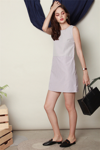 Colourblock Pinstripe Shift Dress in Grey