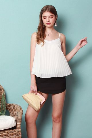 *BACK IN STOCK* ACW Pleated Cami Top in White