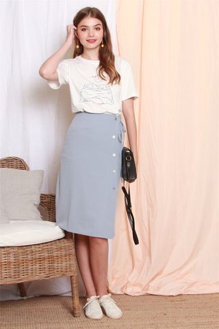 *BACK IN STOCK* Wrap Sash Button Midi Skirt in Blue