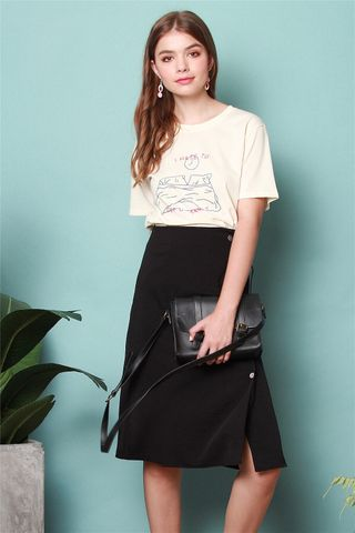 *BACK IN STOCK* Wrap Sash Button Midi Skirt in Black