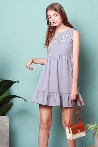 White Floral  Embroidery Dropwaist Babydoll Dress in Dusty Grey