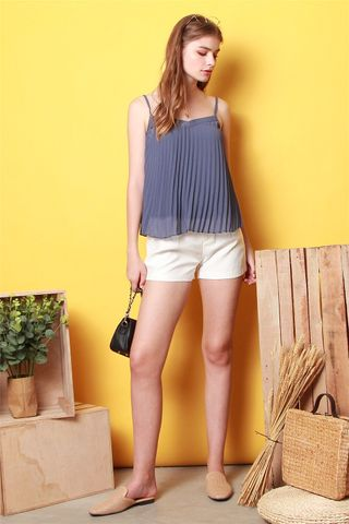 *BACK IN STOCK* ACW Pleated Cami Top in Dusty Blue