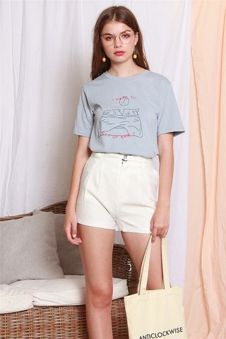 Get Up Early Oversized Tee in Sky Blue