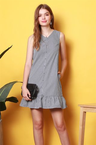 ACW Button Down Dropwaist Dress in Gingham
