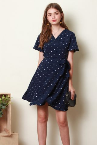 Polka Dot Sleeve Skater Dress in Navy