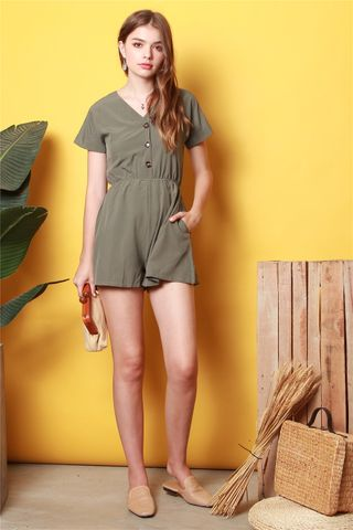 *BACK IN STOCK* ACW Button Basic Romper in Olive
