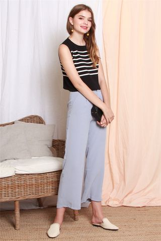 High Waisted Flare Pants in Periwinkle Blue