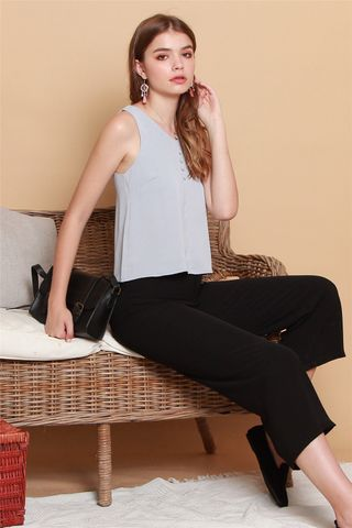 ACW Button Shell Top in Dusty Grey