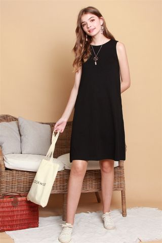 *Backorder* ACW Knit Basic Midi Dress in Black
