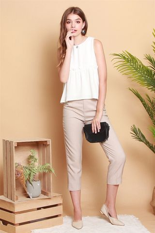 Double Button Fitted Trousers in Khaki