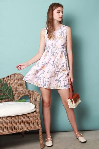 Wheat Floral Frill Babydoll Dress in Dusty Pink