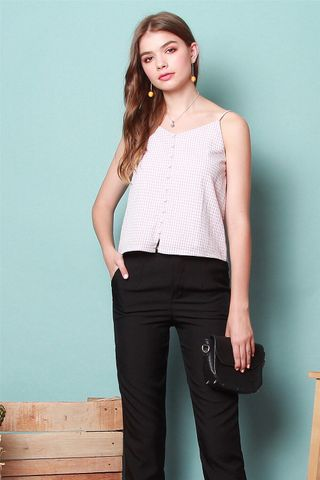 Pastel Gingham Button Cami Top in Lilac
