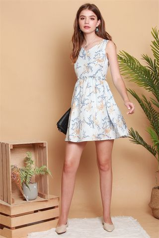 Wheat Floral Frill Babydoll Dress in Pale Blue