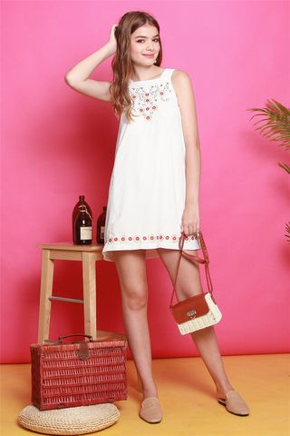 ACW Summer Floral Embroidery Cut In Dress in White