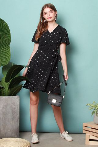 Polka Dot Sleeve Skater Dress in Black