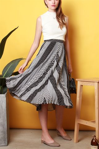 Monochrome Swirls Flowy Midi Skirt