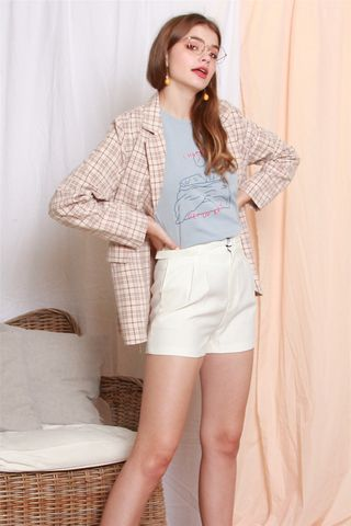 Checkered Square Blazer in Rose