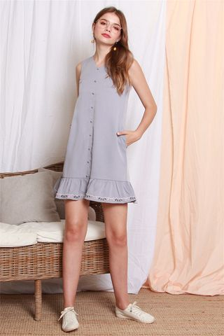 ACW Button Down Embroidery Dropwaist Dress in Dusty Grey