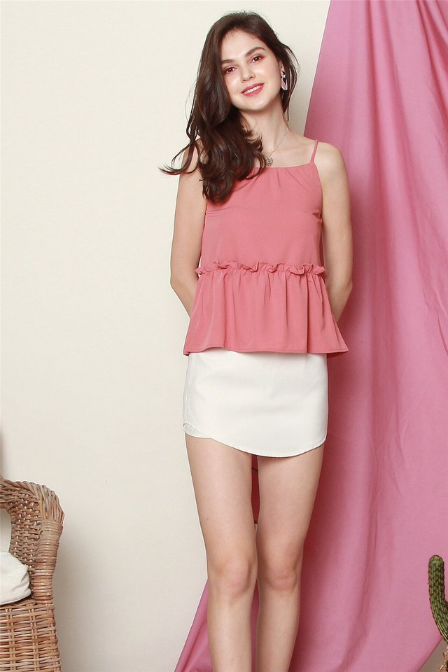 *BACK IN STOCK* ACW Cut In Frill Top in Mauve