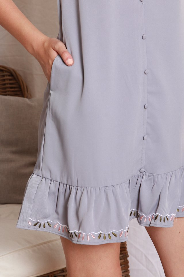 ACW Button Down Embroidery Dropwaist Dress in Dusty Grey