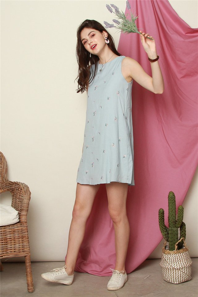 *BACK IN STOCK* ACW Trapeze Dress in Purple Floral Embroidery (Powder Blue)