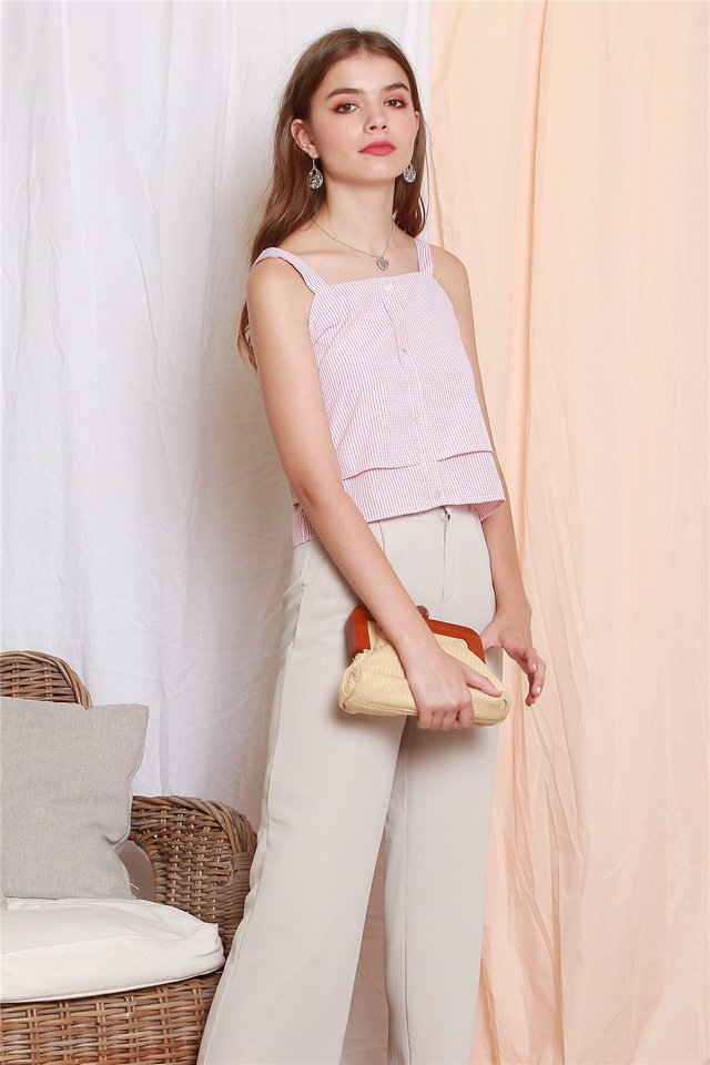 ACW  Gingham Strap Tier Top in Dusty Pink