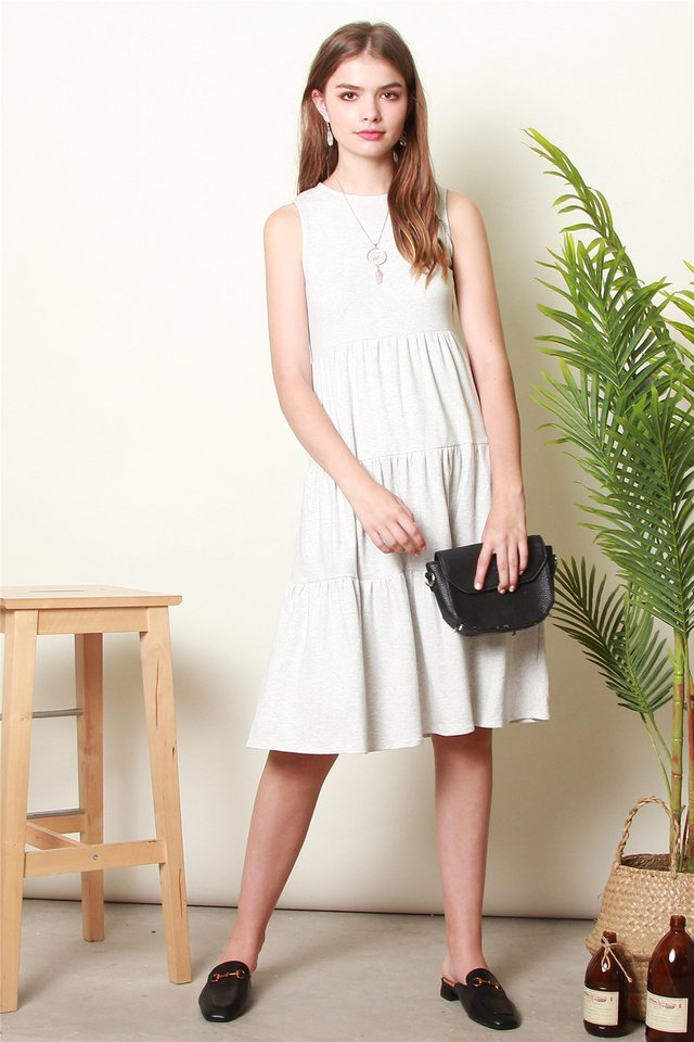 ACW Tiered Midi Knit Dress in Light Grey