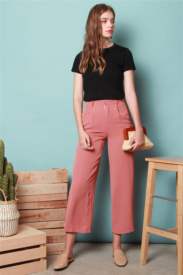 High Waisted Flare Pants in Terracotta