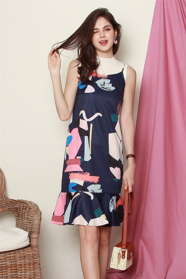 ACW Abstract Coloured Drop Hem Midi Dress in Navy