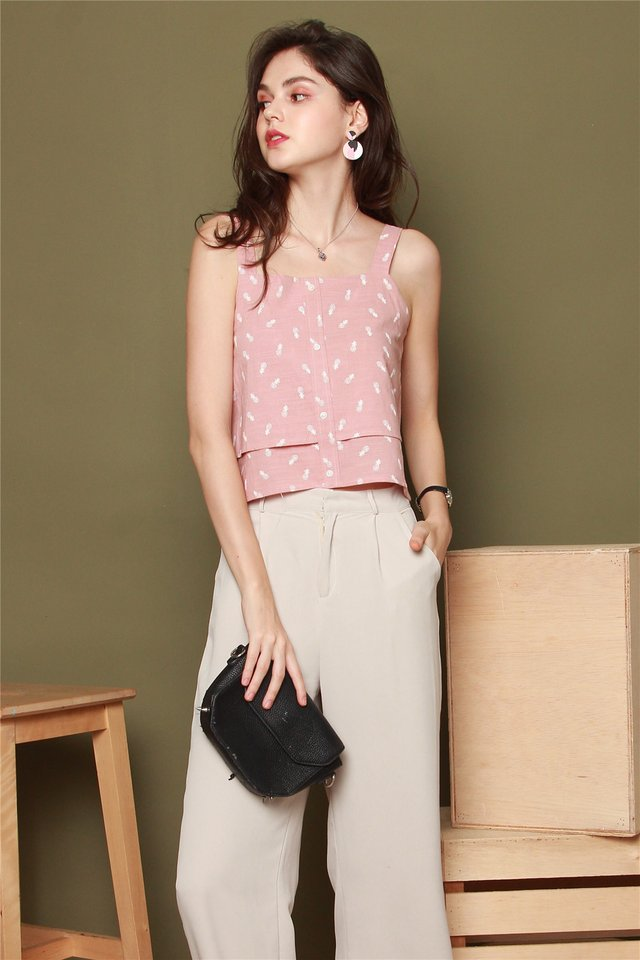 ACW Pineapple Strap Tier Top in Dusty Pink