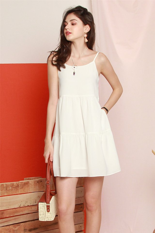 *BACK IN STOCK* Cami Tiered Babydoll Dress in White