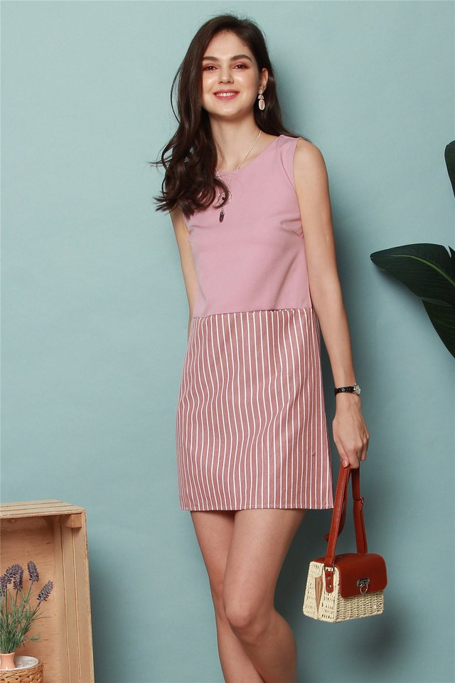 Colourblock Pinstripe Shift Dress in Dusty Pink