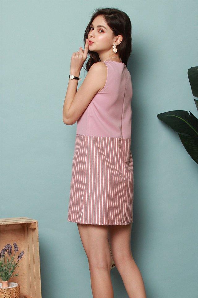 Colourblock Pinstripe Shift Dress in Dusty Pink
