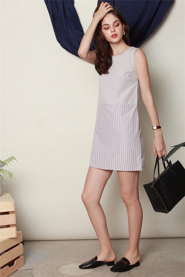Colourblock Pinstripe Shift Dress in Grey