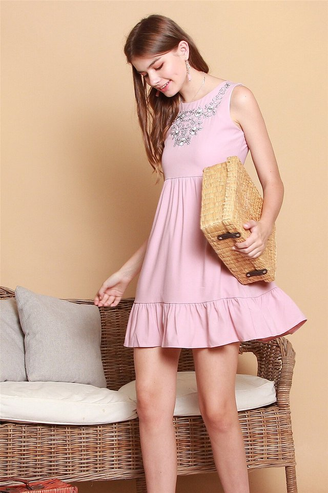 White Floral  Embroidery Dropwaist Babydoll Dress in Dusty Pink