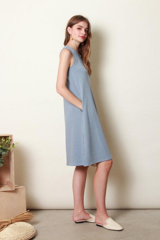 ACW Knit Basic Midi Dress in Ash Blue