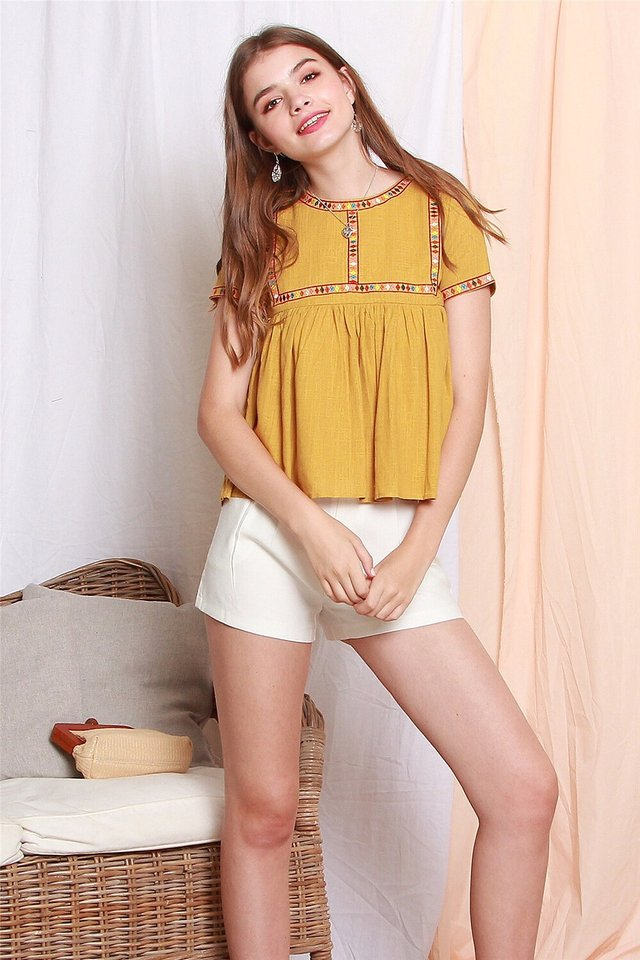 ACW Coloured Square Embroidery Babydoll Top in Daffodil