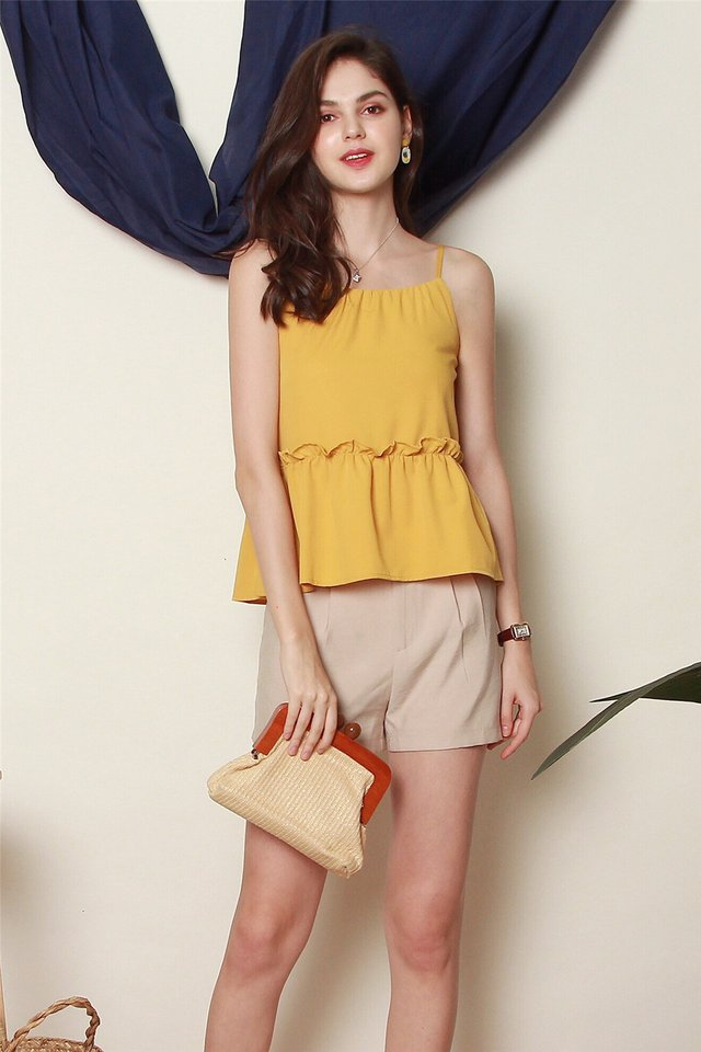 *BACK IN STOCK* ACW Cut In Frill Top in Daffodil