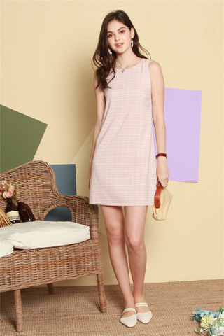 ACW Pastel Gingham Shift Dress in Dusty Pink