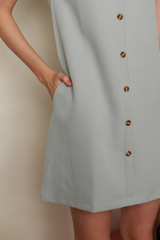 *BACK IN STOCK* Button Panel Sleeve Shift Dress in Ash Blue