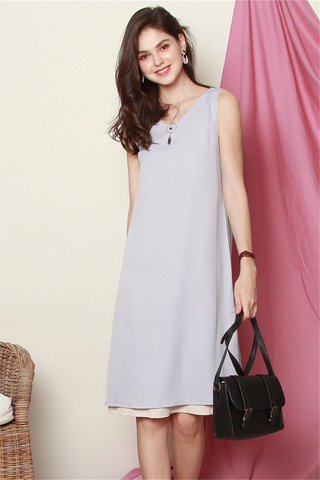 ACW Two Way Colourblock Midi Dress in Dusty Grey-Cream