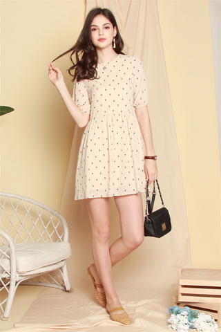 Sailboat Printed Sleeved Babydoll Dress in Cream
